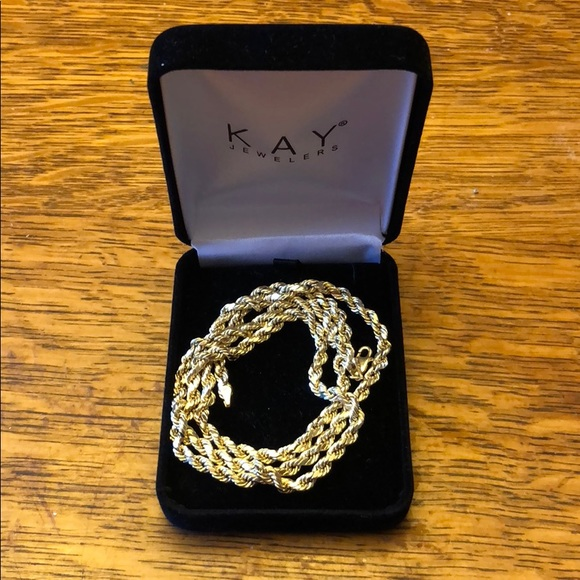 0e20cd7efc0 Kay Jewelers Accessories | 10k Gold Semihollow Rope Chain 24 Inch ...